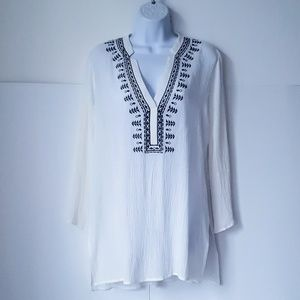 Women's LUSH by KSO White Crinkled Tunic Small